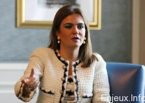 International Cooperation Minister Sahar Nasr talks during an interview with Reuters in Cairo