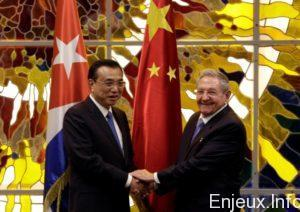 Cuba's President Raul Castro (R) shakes hands with Chinese Premier Li Keqiang during their meeting at Havana's Revolution Palace, Cuba